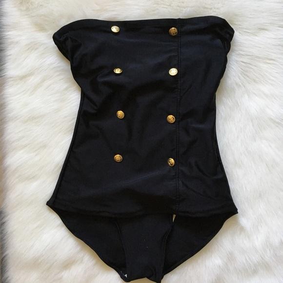 0d5343a17ee Vintage Swim | Black Gold Anchor Button Pinup Suit | Poshmark